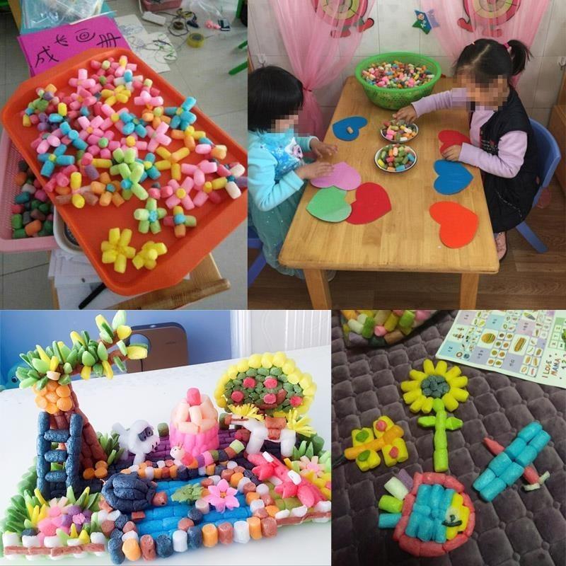 节日玩教儿童魔术粘粘沫玉米粒玩具粘贴画制作橡皮泥拼装