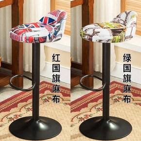 美式乡村铁艺吧凳个性酒吧台椅创意咖啡桌椅旋转升降圆形高脚凳