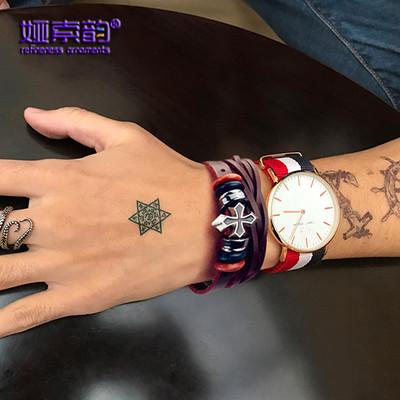 娅索韵新款时尚编制韩版手链个性男款复古皮手饰民族风十字架手饰