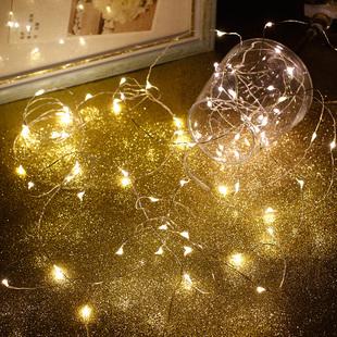 铜线LED灯串满天星串灯小彩灯铜丝电池挂灯房间迷你装饰星星灯