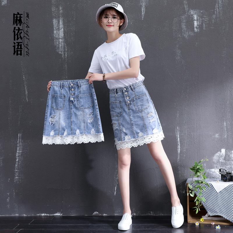 牛仔蕾絲短裙