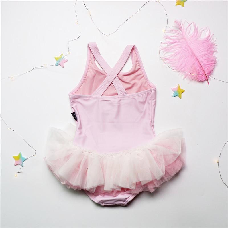 韩国18夏季新品儿童女宝宝连体泳衣女童卡通天鹅蓬蓬裙粉色泳装