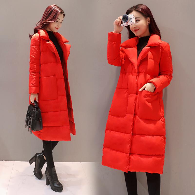 西装领羽绒服女中长款2018新款冬季韩国修身显瘦百搭加厚过膝外套