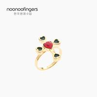 noonoo fingers 韩国进口戒指手工18K镀金红色爱心十字架开口指环