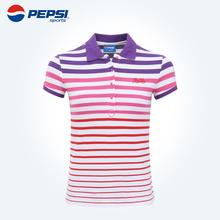 PEPSI 百事运动夏季女款休闲Polo衫 纯棉条纹T恤短袖 051124202