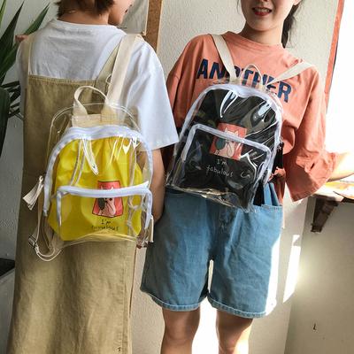 书包女韩版原宿ulzzang 高中学生百搭校透明双肩包小清新果冻背包