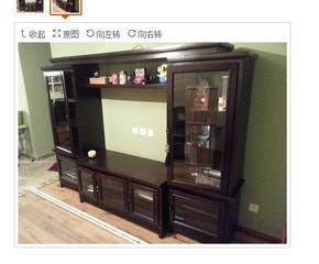 欧原家居-美式实木电视柜/欧式视听柜组合/玻璃门电视墙可当书柜
