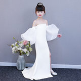 2019 new white personality lanterns sleeves long children's catwalk evening dress fashion slim split costumes