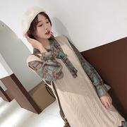 两件套连衣裙女2018秋季新款韩版毛衣背心马甲雪纺宽松裙套装显瘦