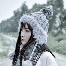 Wool Hat Female Autumn and Winter Leifeng Hat Warm Korean Edition Sweet and Lovely Winter Hair Ball Tide Knitted Hat