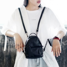 Double-shoulder Bag Female Soft Leather 2019 New Korean Edition Chao Euro-American Baitao Mini-backpack Personal Head Layer Cowskin Bag