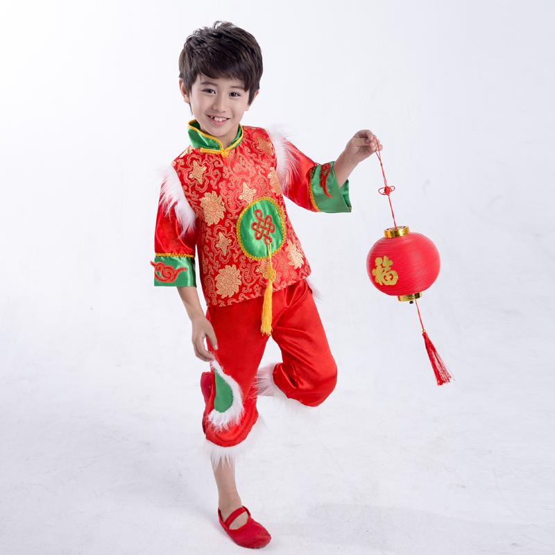 新款元旦儿童秧歌演出服男女童喜庆服唐装幼儿中国舞开门红舞蹈服