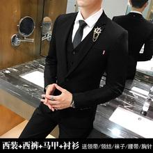 三件套商务正装 韩版 西服套装 男士 修身 职业小西装 伴郎新郎结婚礼服