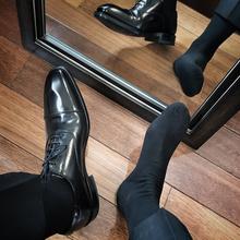 5双绅士纯棉男袜白领上班族商务款日本正装黑袜控男士中长款