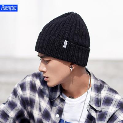 秋冬帽子男韩版纯色百搭潮毛线帽时尚街头针织帽套头冷帽保暖加厚