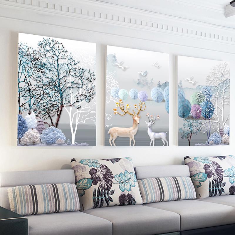 十字绣2018新款线绣客厅简约现代大幅发财麋鹿欧式三联画2019满绣