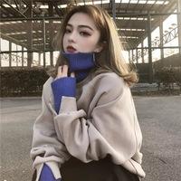 春装新款韩版学生高领宽松假两件加绒加厚连帽卫衣女2018秋冬上衣