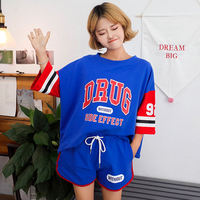 2019 summer new print Harajuku style short-sleeved T-shirt female + shorts casual sports set student girlfriends two-piece
