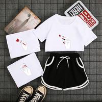 运动跑步套装女夏季新款时尚大码宽松显瘦短袖T恤短裤休闲两件套