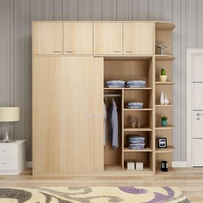 推拉门衣柜简约现代2门卧室板式移门大衣橱实木质整体衣柜定制