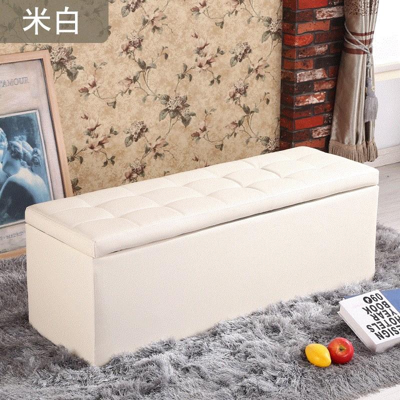 2018新款时尚白色小号皮墩蹲皮凳子穿试换鞋凳四方矮长条沙发收纳