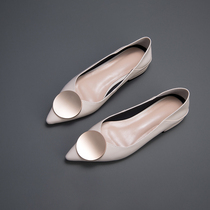 Panda accueil nouvelles chaussures granny Bouche Peu Profonde Bas avec des chaussures simples femme 2019 modèles de printemps chaussures de Bateau En Cuir Pointe Rouge Chaussures plates