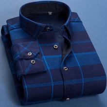 秋冬季格子保暖衬衫加绒加厚男士衬衫男长袖修身韩版衬衣男衫寸花