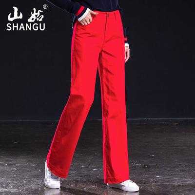 红色直筒牛仔裤女宽松2019春秋新款高腰阔腿长裤大码弹力休闲女裤