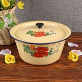 With covered enamel bowl fresh bowl wash basin mixed with filling basin and noodle pot lard basin old-fashioned porcelain basin nostalgic lid pot