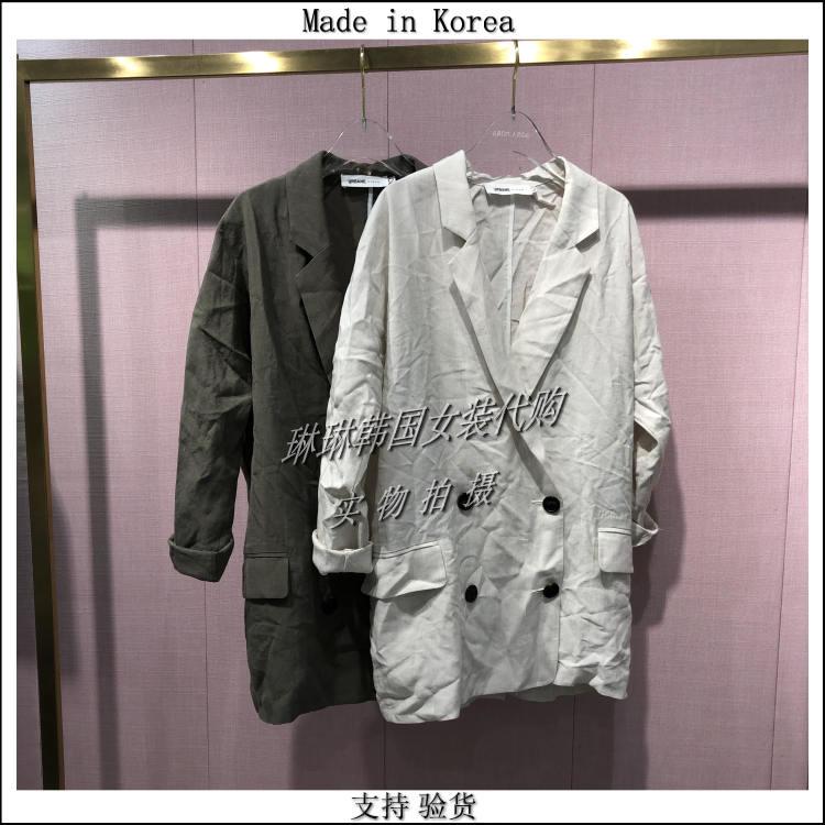 琳琳韩国代购URBANE女装进口19夏季四扣翻领宽松百搭简约中袖外套
