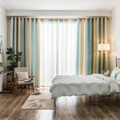 窗帘成品简约现代客厅百搭2018新款北欧卧室清新地中海风格飘窗布