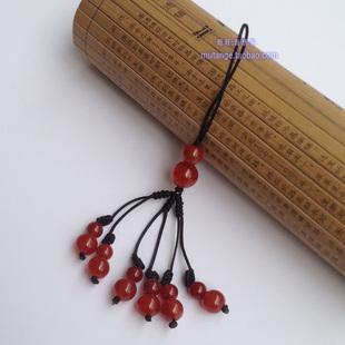 玉石手机吊链挂件装饰品玛瑙葫芦红绳吊坠招财保挂饰