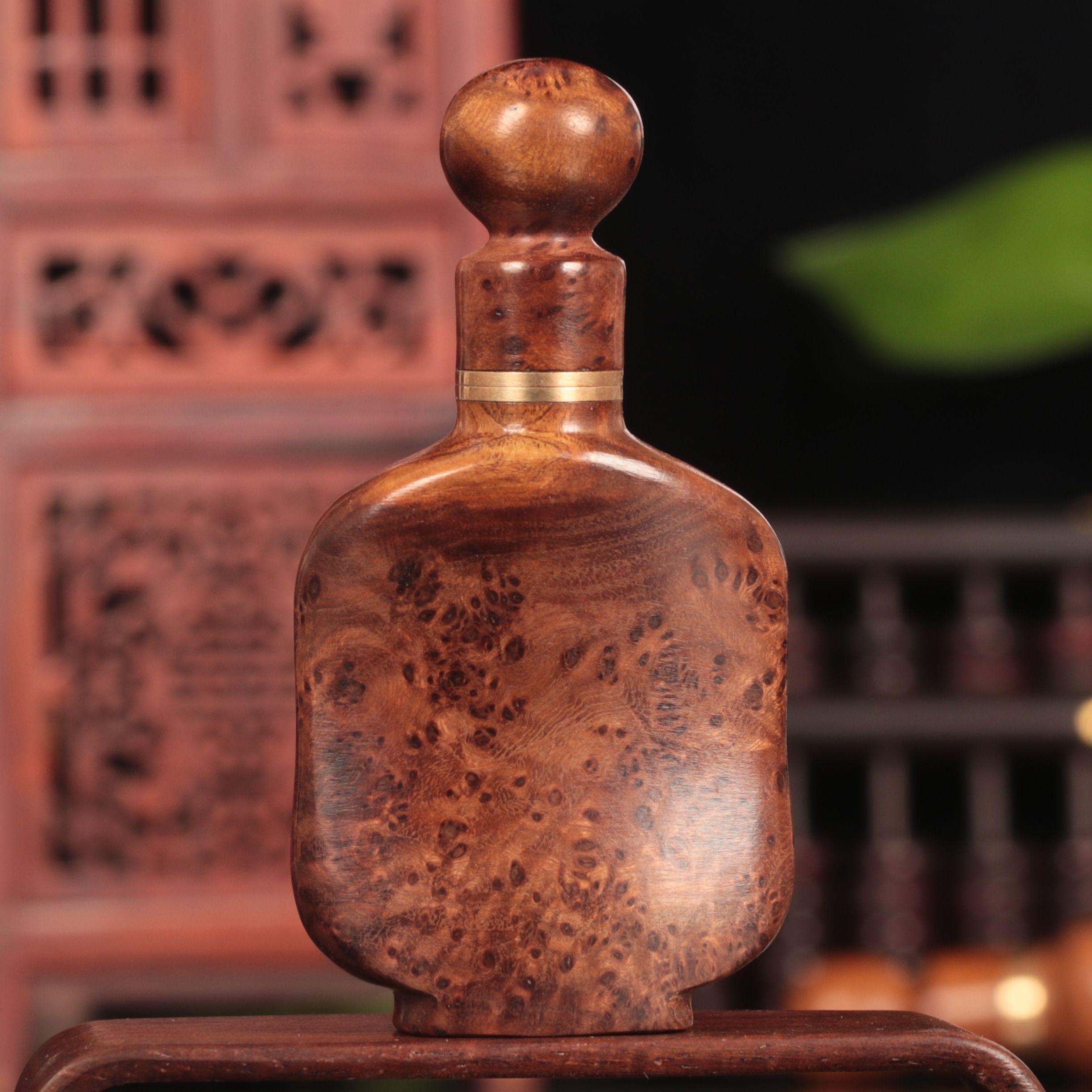 御赐品麻利疙瘩木质内画鼻烟壶 手工艺品古玩收藏鼻粉摆件瓶