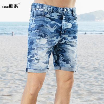 夏季薄款牛仔短裤男海军迷彩破洞休闲中裤潮流五分裤帅气青年男裤