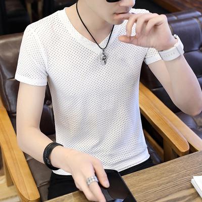 夏季男士短袖冰丝t恤韩版修身v领上衣潮流个性男装镂空版型体恤衫