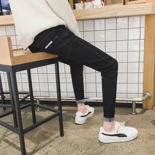 潮流学生冬季百搭加绒加厚裤 小脚韩版 男九分弹力修身 黑色牛仔裤
