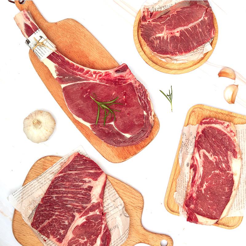 原切原味战斧安格斯西冷雪花肉眼嫩肩牛排套餐团购新鲜牛扒1500克