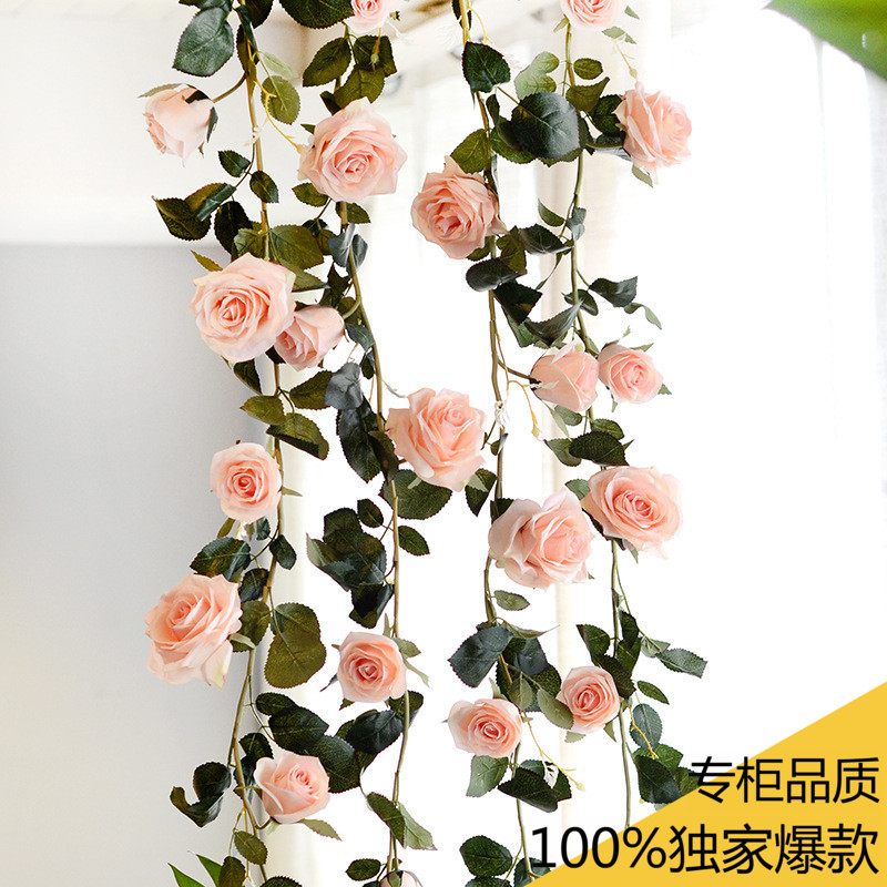 Simulation 33 Roses Rattan Living Room Air Conditioning Duct Indoor Heating Decoration Covering Plastic Fake Flower Vine Home & Garden