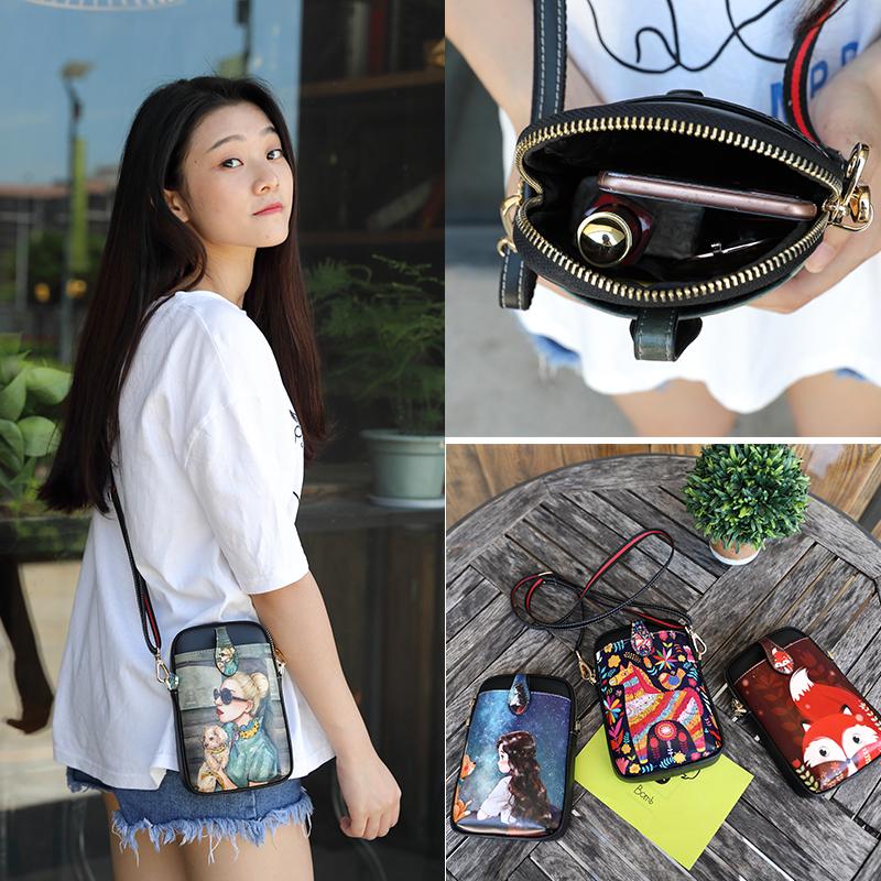 手机包女2018新款夏天拉链小包韩版卡通可爱零钱包单肩斜跨手机袋