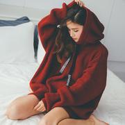 慵懒风连帽毛衣oversize情侣中长款宽松超大码红色网红针织卫衣女