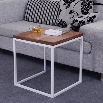 美式复古铁艺实木简约现代沙发边几角几小茶几客厅实木小方桌边桌评测