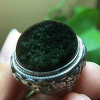 尊魅尊魅 绿幽灵戒指男女款银镶嵌 幽灵异象水晶男女饰品