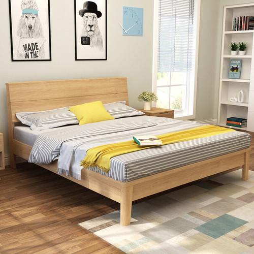现代简约主卧双人1.8米实木床 卧室经济型单人1.2米1.5米床原木色