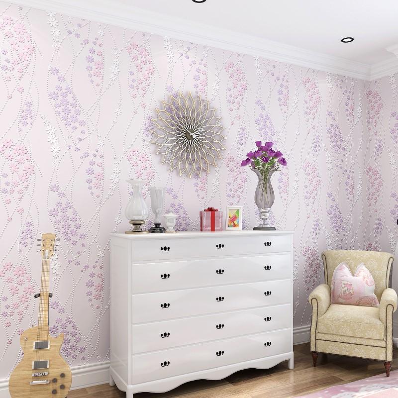 小清新墙纸卧室女孩温馨清新淡雅素色无纺布壁纸客厅现代简约时尚