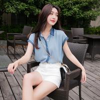 2018新款韩版拼色短袖雪纺衫宽松气质衬衫小清新上衣洋气小衫女夏