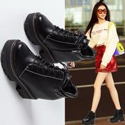 秋季短靴女2018新款个性坡跟内增高鞋冬季高跟鞋松糕厚底马丁靴子
