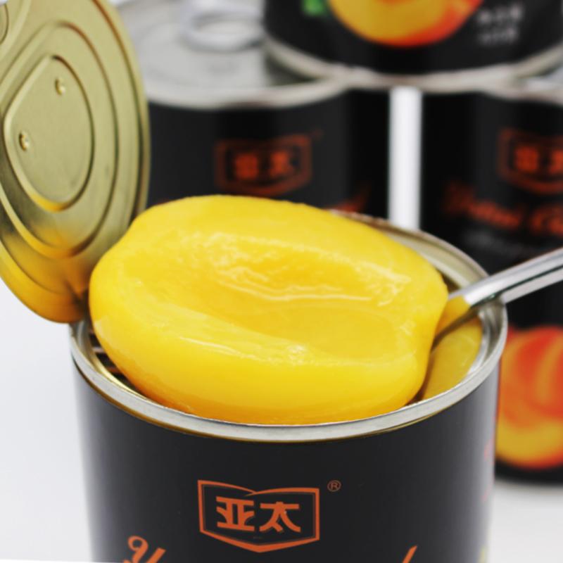 亚太新鲜糖水黄桃罐头水果罐头425g*5罐整箱中海食品黄桃对半