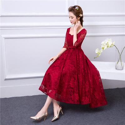 孕妇酒红色晚礼服2018新款夏季韩版蕾丝前短后长高腰显瘦年会礼服