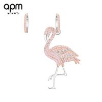 APM Monaco不对称银镶粉晶钻火烈鸟设计耳环女小众耳坠长款2018