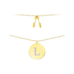 APM Monaco金黄色银镶晶钻字母硬币项链女锁骨链 个性吊坠饰品银